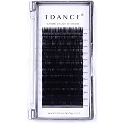TDANCE Eyelash Extension D Curl 0.18mm Thickness Semi Permanent Individual Eyelash Extensions Silk Volume Lashes Professional Salon Use Mixed 14-19mm Length In One Tray (D-0.18,14-19mm)