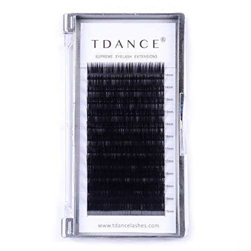 TDANCE Premium D Curl 0.18mm Thickness Semi Permanent Individual Eyelash Extensions Silk Volume Lashes Professional Salon Use Mixed 14-19mm Length In One Tray (D-0.18,14-19mm)