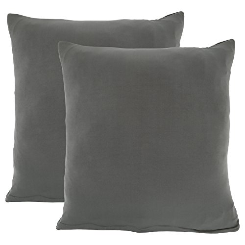 Mobo Grey Throw Pillow Covers - 18×18 inches Decorative Pillowcases for Different Square Sizes of Pillows with Polyester Spandex Fabric - Pack of 2 by Mobo