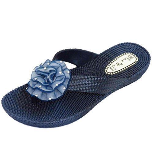 Damen Flach Marineblau Zehensteg Riemen Sandalen Flip Flop Strand Blume Keilabsatz Schuhe Größen 3-8