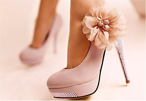 Women Floral Crystal Waterproof High Stiletto Heel Twinkling Wedding Shoe Pink Red 9wlAoFo2yU