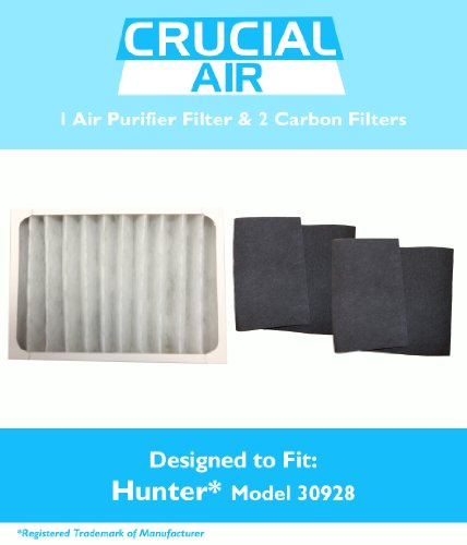 1 Hunter 30057, 30059, 30067, 30078, 30079 & 30124 Air Purifier Filter & 2 Carbon Pre-Filters, Part # 30928, 30901, 30903, 30907, 30958 & 30959, Designed & Engineered by Crucial Air Hunter Carbon