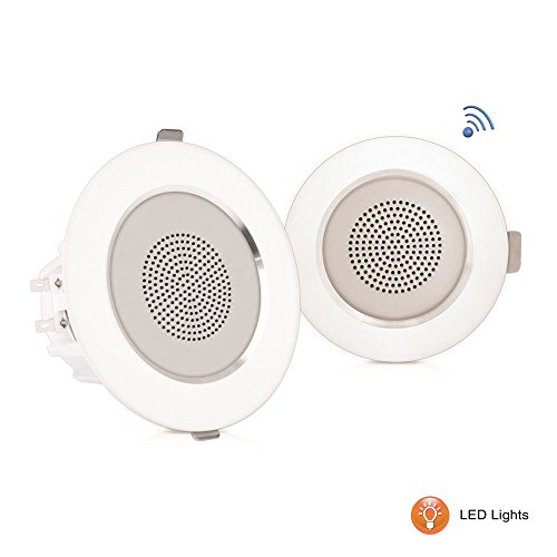 "Pyle 4"" Pair of Bluetooth Flush Mount In-wall In-ceiling 2-Way Home Speaker System Built-in LED Lights Aluminum Housing Spring Clips Polypropylene Cone & Tweeter 2 Ch Amplifier 160 Watts (PDICBTL4) by Pyle"