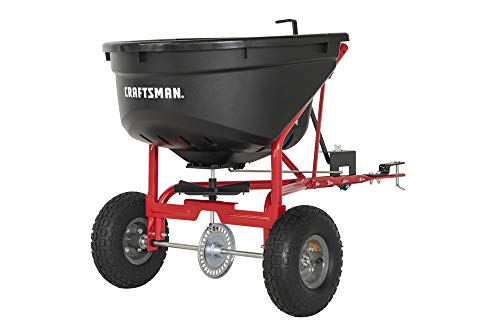 Craftsman CMXGZBF7124571 110-lb Tow Broadcast Spreader, Black (Best Riding Mower For 5 Acres)