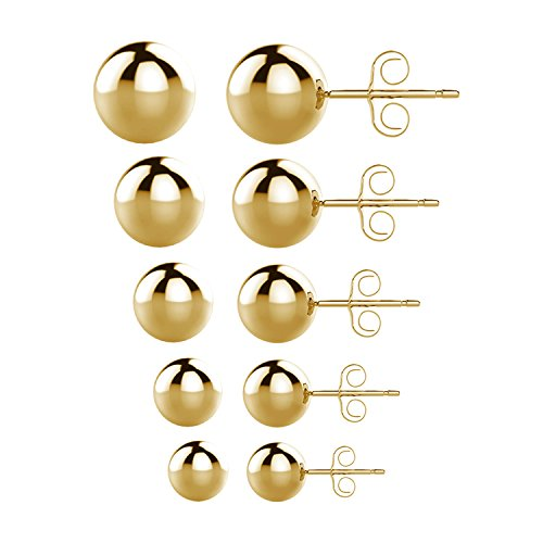 UHIBROS 316L Surgical Stainless Steel Round Ball Studs Earrings 5 Pair Set Assorted Sizes (Gold)