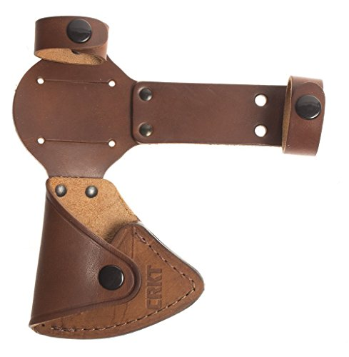 Skinning Leather Knife Sheath (Columbia River Knife & Tool CRKT Woods Chogan Tomahawk Sheath: Full Grained Leather, Multiple Snaps, Belt Loops Secure Carry T-Hawk Use CRKT 2730 D2730)
