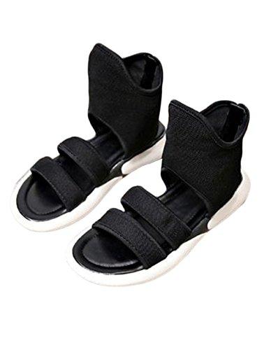 [ジャンーウェ] レディース サンダル 厚底 フラット キャンバス ブーツ ファッション 春夏 無地 おしゃれ