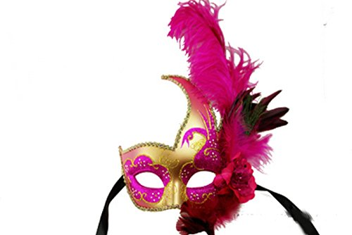 Phantom of the Opera Style Venetian Hot Pink Feather Gold Masquerade Mask (Feathered Masquerade Mask)