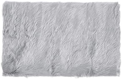 uxcell Faux Sheepskin Area Rug Indoor Soft Fluff Carpet Rugs for Bedroom Floor Sofa Cabinet Living Room 2×3 Feet Rectangle, Light Gray
