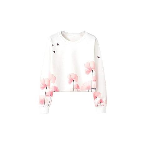 SWEAAY Señoras Mujeres Otoño Invierno Moda Manga Larga Impresa Sudadera Blusa Tops Sudaderas Blancas Ropa De