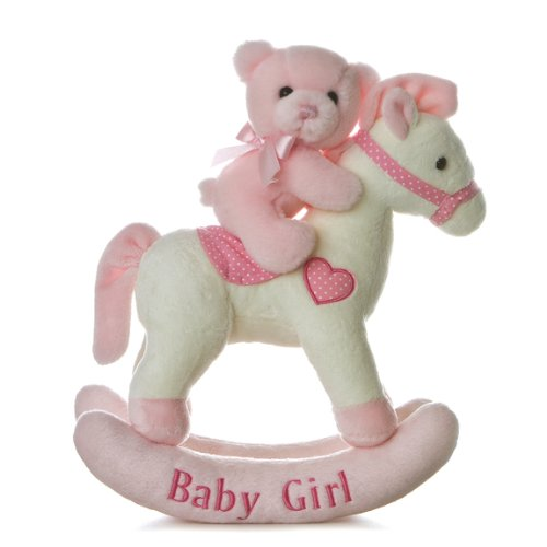 (Aurora Baby Plush Rocking Horse, Pink/White )
