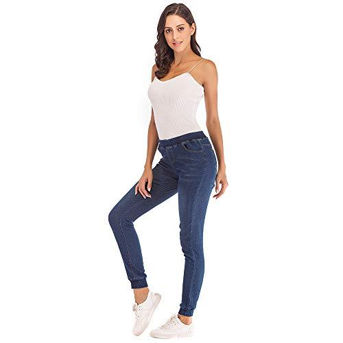 ALIKEEY 2018 Mujeres Otoño Elastic Plus Loose Denim Casual Cropped Jeans Jogging Largos Colores Rectos Tiro Alto Hip Hop Pierna Azul Oscuro