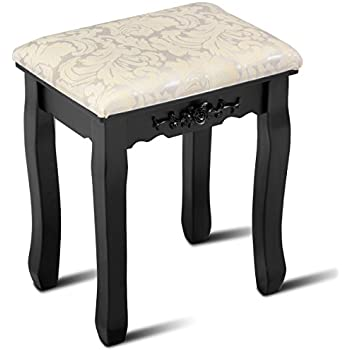 Amazon Com Giantex Vanity Stool Makeup Bench Dressing Stools Retro Wave Foot Floor Pad For Scratch Solid Pine Wood Legs Thick Padded Cushioned