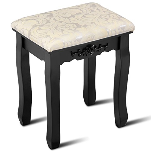 - Giantex Vanity Stool Makeup Bench Dressing Stools Retro Wave Foot Floor Pad for Scratch Solid Pine Wood Legs Thick Padded Cushioned Chair Piano Seat Bathroom Bedroom Large Vanity Benches, Black