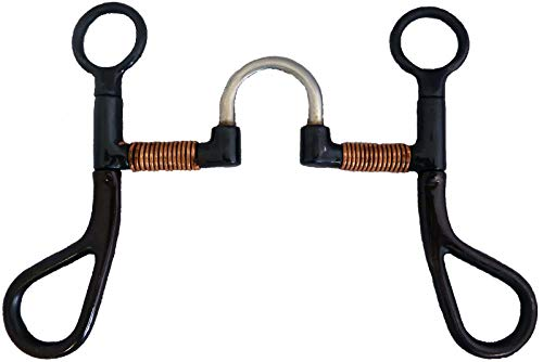 """AJ Tack Wholesale Colt Horse Training Bit 5"""" Correction Mouth Copper Wire Large Rein Loops Black"""