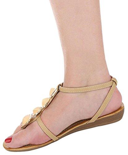 ... Damen Sandalen Schuhe Sommerschuhe Strandschuhe Zehentrenner Gelb Beige  Coral 36 37 38 39 40 41 Beige ...