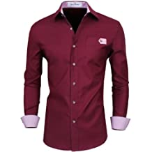 Tom's Ware Mens Premium Stylish Slim Fit Covered Contrast Fabric Buttons Dress Shirts