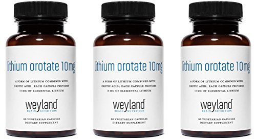 Weyland: Lithium Orotate - 10mg of Elemental Lithium (as Lithium Orotate) per Vegetarian Capsule (3 Bottles) by Weyland Brain Nutrition