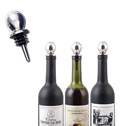 Reusable Wine Bottles Stoppers Stainless Steel Champagne Stopper Liquor Pourer Topper Metal Cork Decorative Beer Saver Cap 5-Pack ()