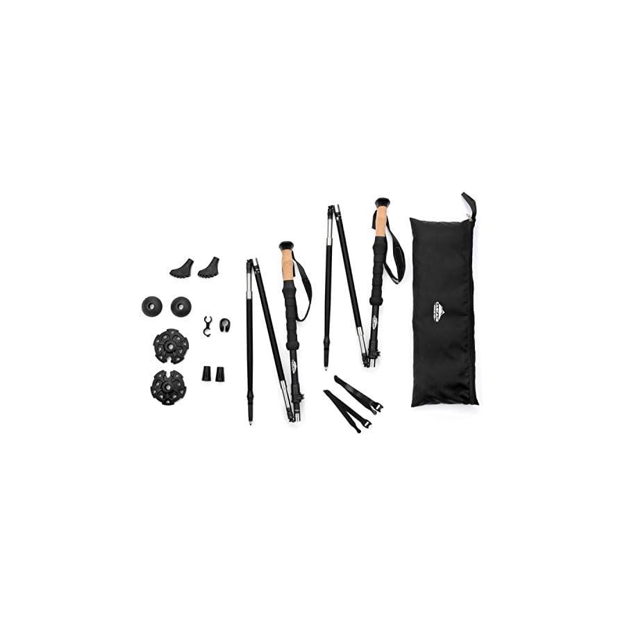Cascade Mountain Tech 100% Carbon Fiber Folding Trekking Poles with Cork Grips & Quick Locks, Matte Black, 2 Pack