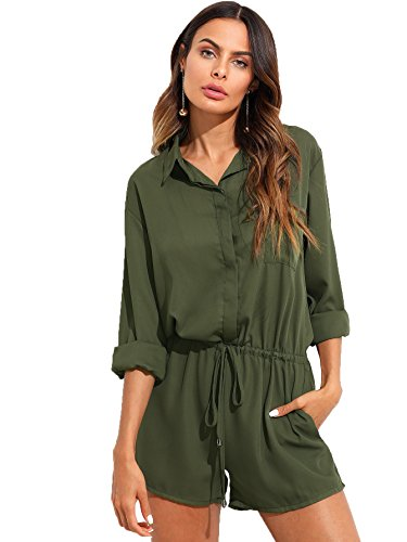 Milumia Women's V Neck Button Up Long Sleeve Drawstring Waist Cargo Jumpsuit Romper with Pocket Army Green X-Large (Long Sleeve Romper)