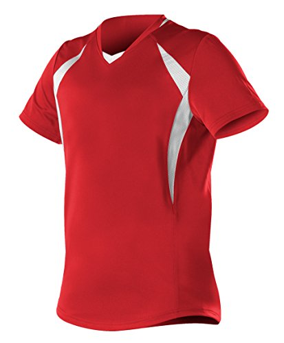 Alleson Ahtletic Women's Plaited Knit Fast Pitch Softball Jersey, Scarlet/White, Small