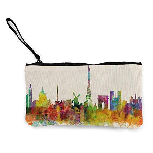 - Coin Purse Paris Skyline Art Teen Girls Fastener Canvas Purse Wallet ChangeUnique Holder