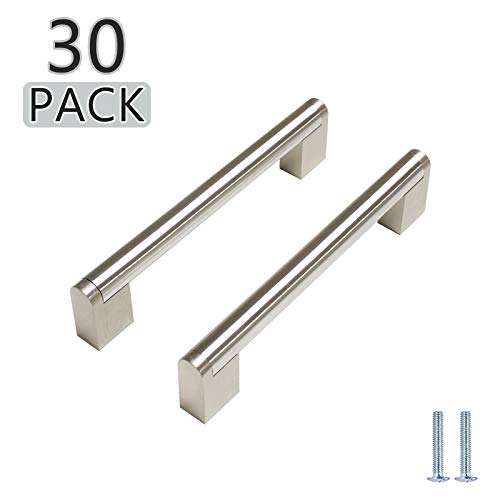 30 Pack Probrico 5quot Hole Centers Euro Cabinet Pulls Modern Round Bar Pull with Square Base Satin Nickel Stainless Steel Kitchen Bathroom Drawer Dresser Furniture Cabinet Hardware