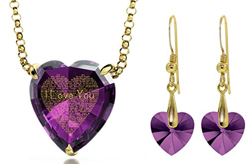 Gold Plated I Love You Necklace 120 Languages Inscribed Purple Heart CZ and Crystal Earring Jewelry Set by Nano Jewelry