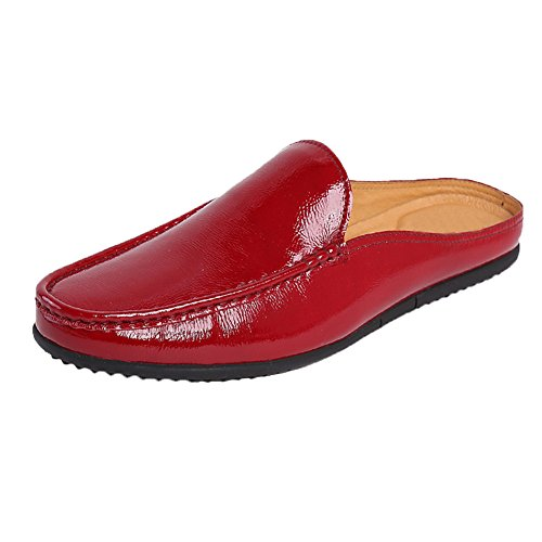 19cecf058 lovely Santimon Mules Clog Slippers Men Fashion Patent Leather Slip on  Shoes Casual Loafers