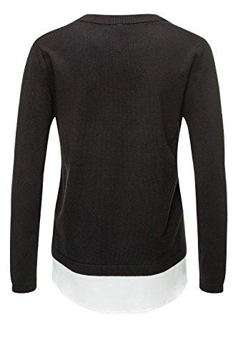 f3c4b770400e ... Key Largo Damen Pullover Feinstrick Double Layer Look Bluse  Langarmshirt Black WtdEz