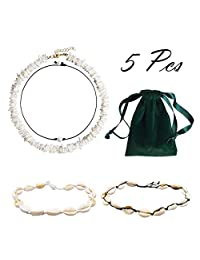 R HORSE 5 Packs Shell Choker Necklace Puka Shell Cowrie Shell Pearl Necklace Handmade Hawaiian Jewelry Set for Women Lady