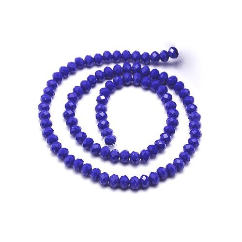 (80+ Dark Blue Czech Crystal Opaque Glass 4 x 6mm Faceted Rondelle Beads HA20580 (Charming)