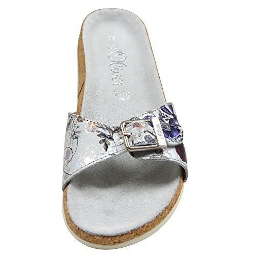 Pantoletten s Damen Flower Oliver 5 38 Silver Multi Sandalen 27113 Silber rIPXrxw