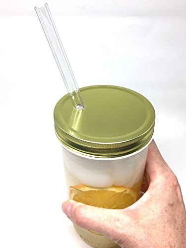 Glass Mason Drinking Jars with 2 Gold Lids, 2 Glass Straws (10''x 9.5mm) and 1 Straw Cleaner (24oz wide mouth, gold) (2) by Variety (Image #7)
