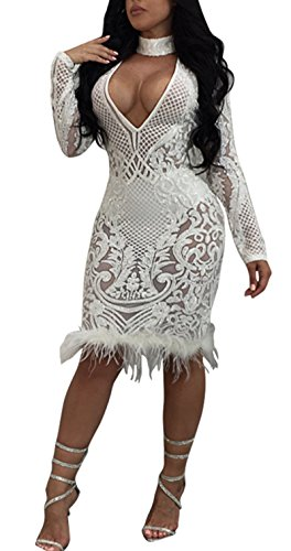 Antique Style Womens Autumn Sexy Choker Deep V Neck Long Sleeve Sequins Bodycon Solid Party Club Midi Dress (XL, white)