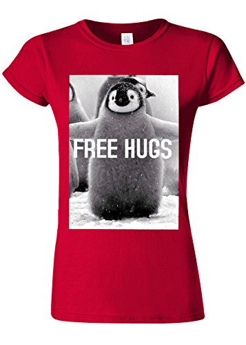 Penguin Free Hugs Funny Novelty Cherry Red Women T Shirt Top-M (Free Womens Pink T-shirt)