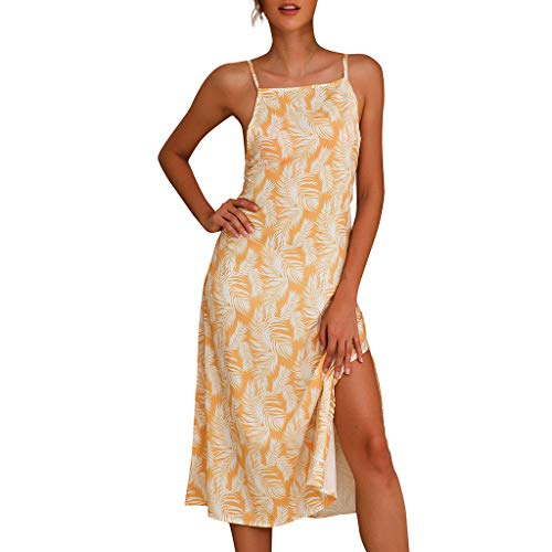 (Sunhusing Ladies Bohemian Style Feather Print Spaghetti Strap Halter Sexy Sleeveless Mini A-Line Dress Yellow)