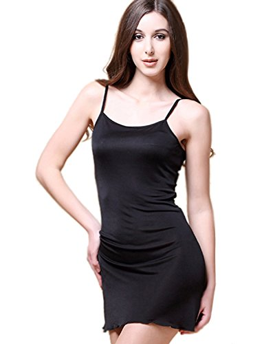 METWAY Women's Silk Nightgowns Sexy Super Breathable Knit Pure Silk Pajamas Small Black ()