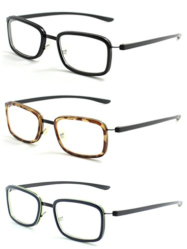 Reading Glasses 3 Pair Readers Great Value Quality Fashion Unisex Glasses for Reading +1.75