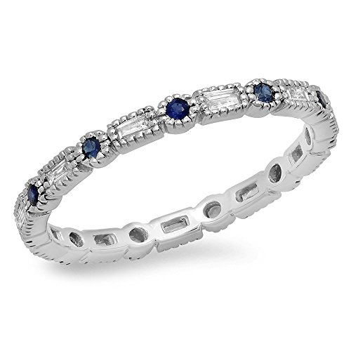 14K White Gold Blue Sapphire & White Diamond Ladies Vintage Wedding Eternity Stackable Ring (Size 7)