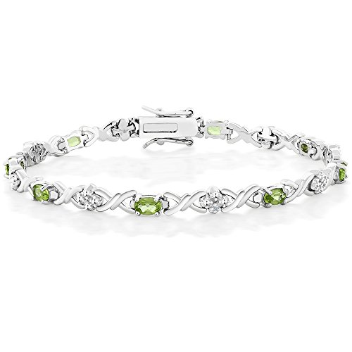 Peridot & Diamond Accent 925 Sterling Silver 7 Inch Tennis Bracelet (4.00 cttw, Peridot: 6x4mm, Diamond: 0.09 mm)