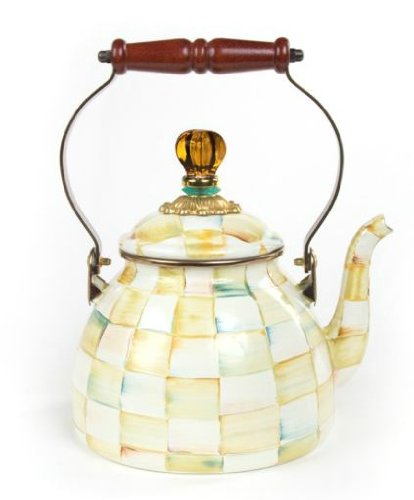 MacKenzie-Childs Parchment Check Enamel Tea Kettle - 2 Quart