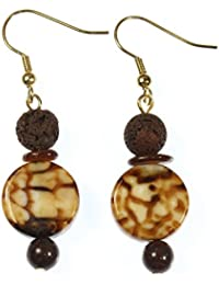 """""""I Need My Coffee!"""" Genuine Coffee Agate Earrings with Volcanic Stone Accents, 1.75 Inches"""