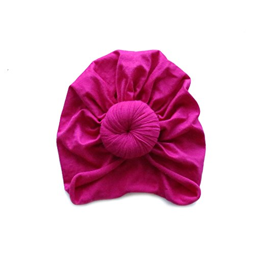 Homi Baby Hand Made Baby Top Knot Turban by 100% Hand Sewn - Super Soft Baby Head Wrap - 100% Glue Free - BPA Free (1-3 yrs, Hot Pink)