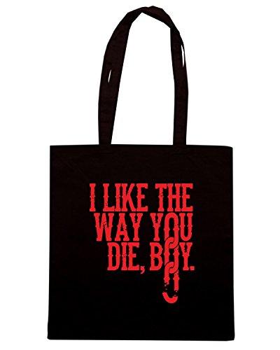 T-Shirtshock - Bolsa para la compra FUN1230 DjangoUnchainedTshirt ILikeTheWayYouDieBoy Paprika CU 6 Negro