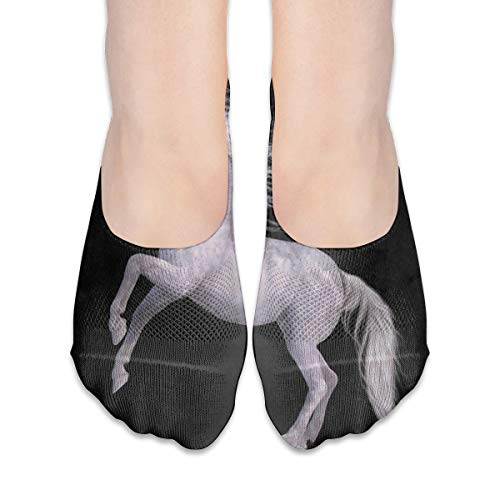 (No Show Socks White Unicorn Black Customized Womens Low Cut Sock Boat Invisible Socks for Girl)