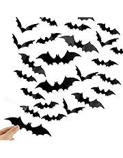 Rekletier Halloween Bats Wall Decor 28 PCS 3D Bat Halloween Decoration Stickers for Home Decor 4 Size Waterproof Black Spooky Bats for Room Decor Window film
