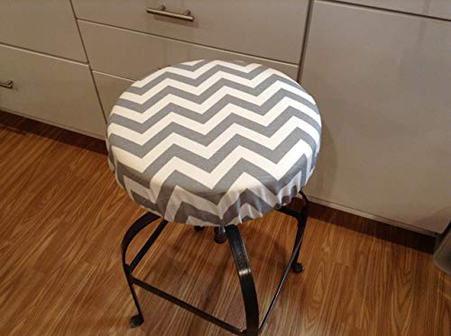 Round bar stool cover, Modern chevron print gray and white cotton slub fabric, with or without foam insert. Made in the USA. Stool slipcover. Round cover 12