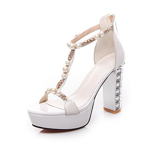 AmoonyFashion Womens Solid Cow Leather High Heels Open Toe Zipper Sandals White